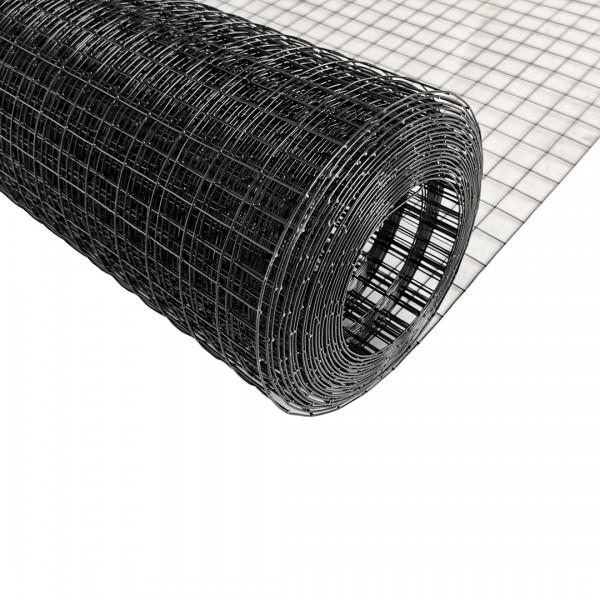 Volierendraht Edelstahl Schwarz 100cm 10m 25x25mm 1,00mm